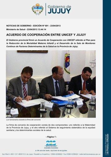 acuerdo de cooperación entre unicef y jujuy - Dirección de Prensa