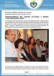 """agradecimiento del centro cultural y museo """"casa macedonio graz"""""""