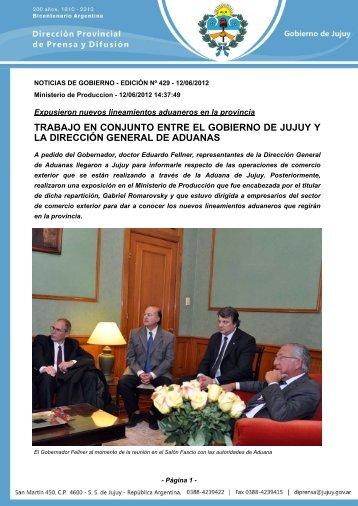 trabajo en conjunto entre el gobierno de jujuy y la dirección general ...