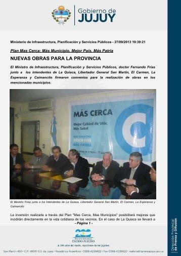 NUEVAS OBRAS PARA LA PROVINCIA - Gobierno de la Provincia ...