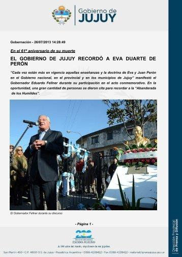 EL GOBIERNO DE JUJUY RECORDÓ A EVA DUARTE DE PERÓN