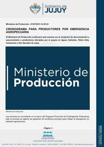 cronograma para productores por emergencia agropecuaria