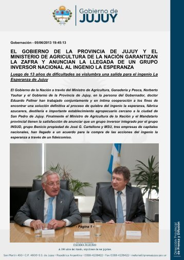 el gobierno de la provincia de jujuy y el ministerio de agricultura de ...