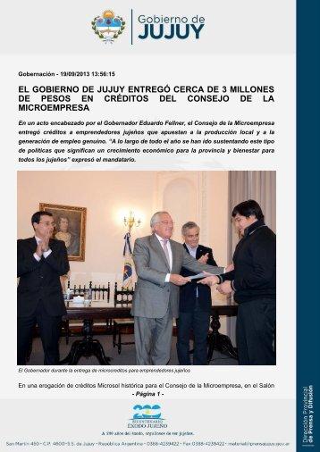 el gobierno de jujuy entregó cerca de 3 millones de pesos en ...