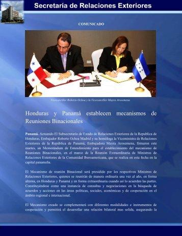 Honduras y Panamá establecen mecanismos de Reuniones ...