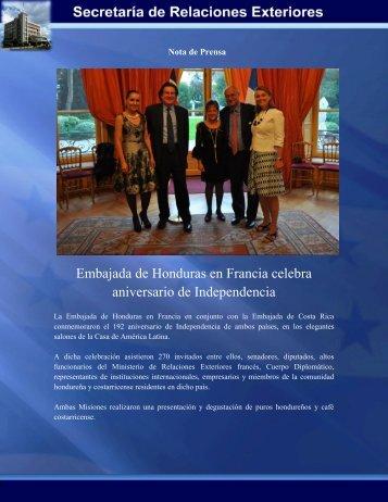 Embajada de Honduras en Francia celebra aniversario de ...