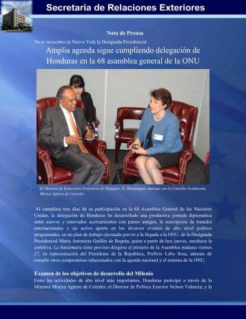 Amplia agenda sigue cumpliendo delegación de Honduras en la 68 ...
