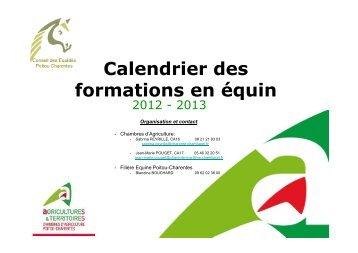 Calendrier des formations en équin 2012-2013 en Poitou-Charentes