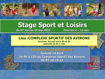 Stage Sports et Loisirs - Les Avirons