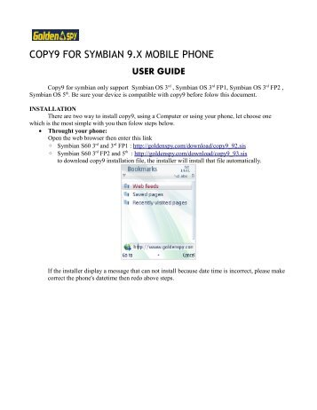 COPY9 FOR SYMBIAN 9.X MOBILE PHONE - GoldenSPY