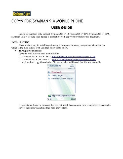 COPY9 FOR SYMBIAN 9 X MOBILE PHONE - GoldenSPY