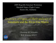 Overview of Figure of Merit analyses of Simulants and the Fit ... - NASA