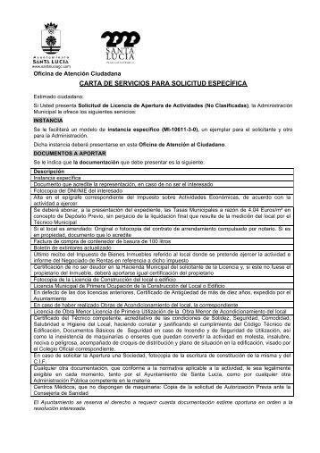 carta de servicios para solicitud específica - Ayuntamiento de Santa ...