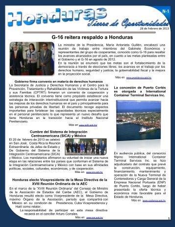 G-16 reitera respaldo a Honduras - Secretaría de Relaciones ...