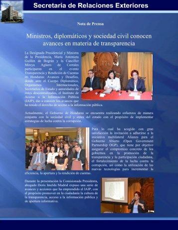 Ministros, diplomáticos y sociedad civil conocen avances en materia ...