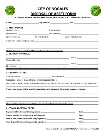 CITY OF NOGALES DISPOSAL OF ASSET FORM - Team-Logic