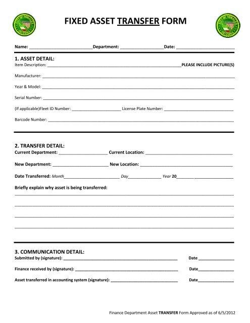 Fixed Asset Transfer Form Team Logic