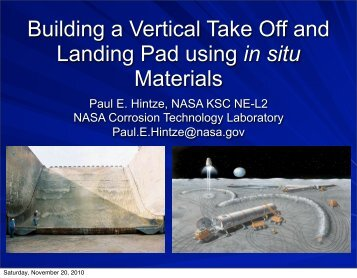Building a Vertical Take Off and Landing Pad Using In Situ Materials