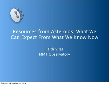 Resources from Asteroids - Space Studies Institute