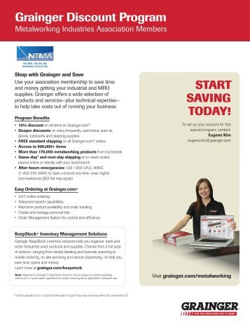 Grainger Discount Program - National Tooling and Machining ...
