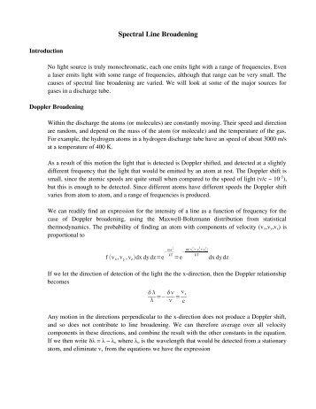 Spectral Line Broadening - Physics @ CSU Stanislaus