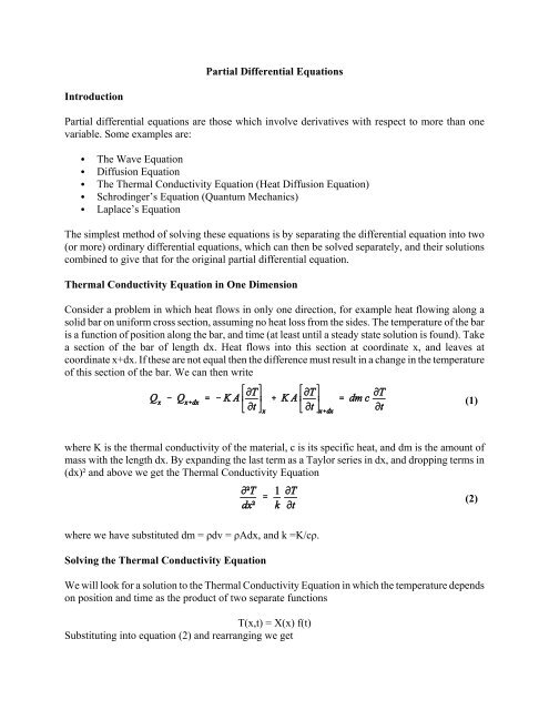 Partial Differential Equations - Physics @ CSU Stanislaus