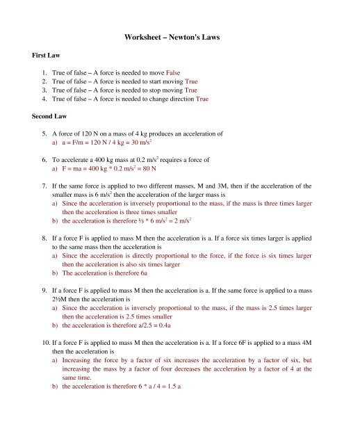 Worksheet – Newton's Laws - Physics
