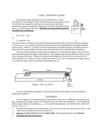 Air Track Experiment: Newton's Laws - Physics @ CSU Stanislaus
