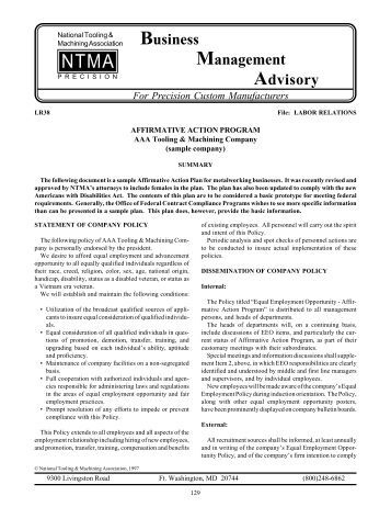 Sample Affirmative Action Plan Affirmative Action Plan Worksheet
