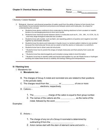 Chemistry Chapter 9 Chemical Names And Formulas Worksheet Answers