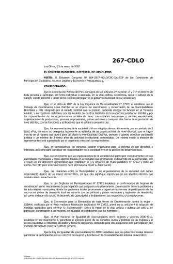 ordenanza 267-CDLO - Los Olivos