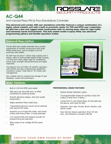 rosslare keypad ac g43 manual