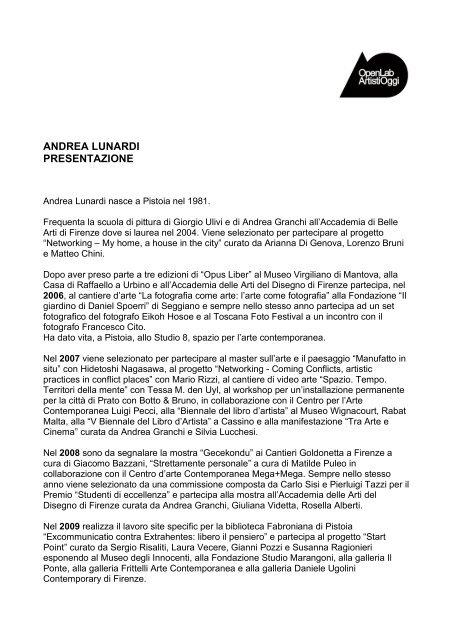 lunardi cv - Openlabgallery.it