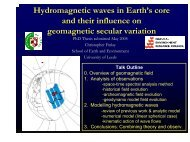Hydromagnetic waves in Earth's core and their influence on ...