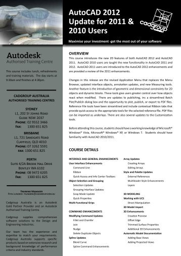 AutoCAD 2012 Update for 2011 & 2010 Users - Cadgroup