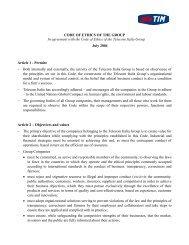 CODE OF ETHICS OF THE GROUP - Telecom Italia