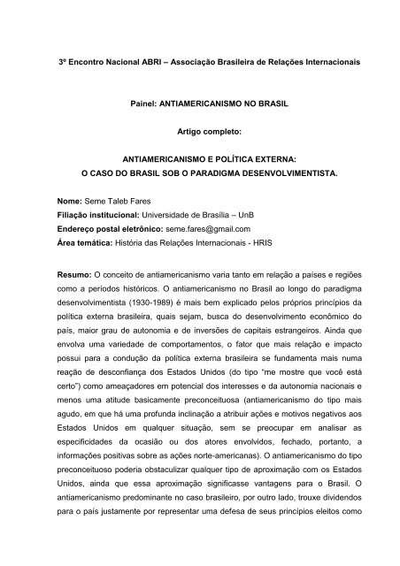 UNIVERSIDADE DE BRASÍLIA - SciELO Proceedings