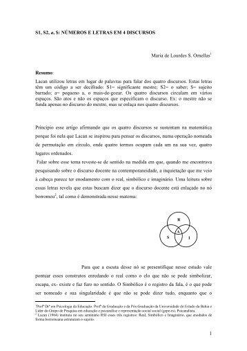 Lacan utilizou letras em lugar de palavras - SciELO Proceedings