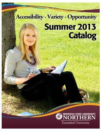 Summer Catalog - Montana State University-Northern