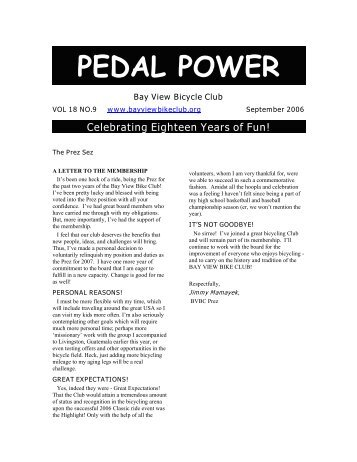 PEDAL POWER - Bay View Bicycle Club