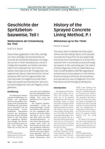 Geschichte der Spritzbeton- bauweise, Teil I History of ... - ETH - IGT