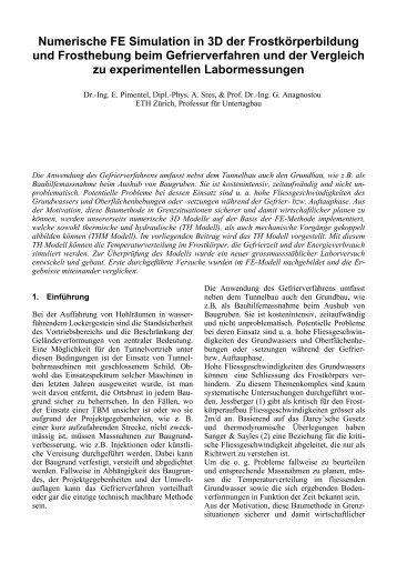 Numerische FE Simulation in 3D der Frostkörperbildung ... - ETH - IGT