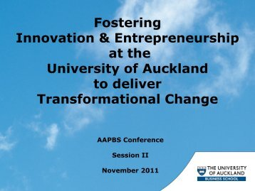 Fostering Innovation & Entrepreneurship at the University of ...