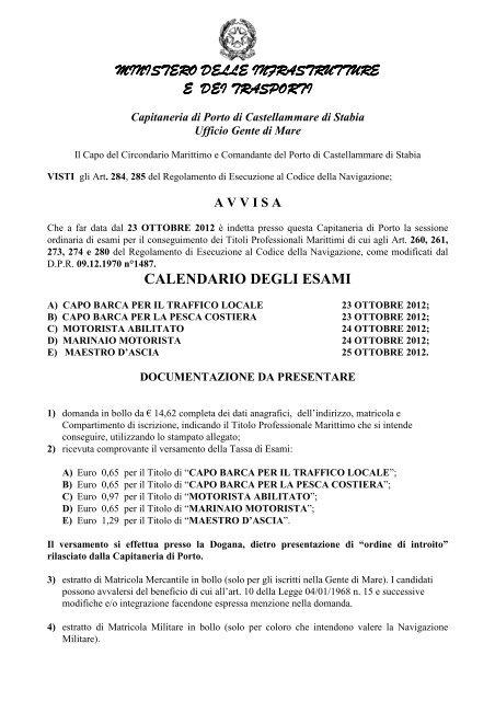 Calendario Esami Titoli Professionali Marittimi.Titoli Professionali Minori Guardia Costiera