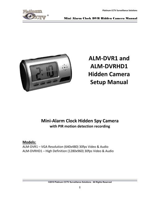 ALM-DVR1 Mini Alarm Clock Spy Camera Manual - Platinum CCTV