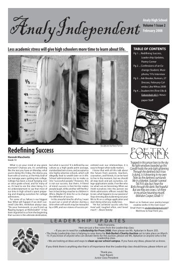 February, 2008, Vol. 1, Issue 2 - Analy High School