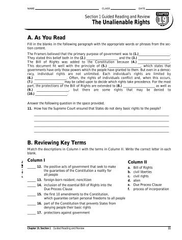 name class date section 4 rh yumpu com chapter 19 the unalienable rights guided reading and review answers