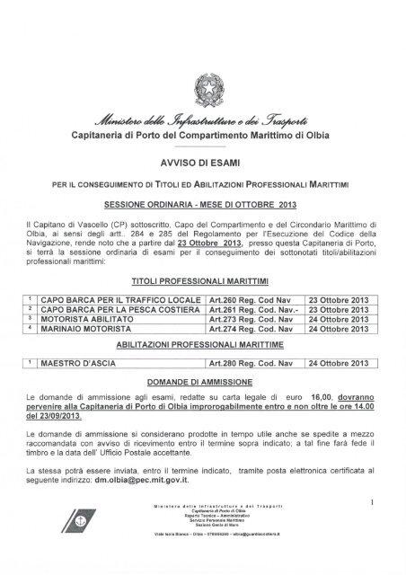Calendario Esami Titoli Professionali Marittimi.Titoli Professionali Marittimi Motorista Guardia Costiera
