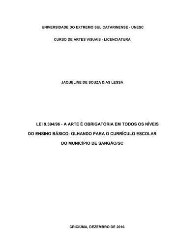 LEI 9.394/96 - A ARTE É OBRIGATÓRIA EM TODOS OS NÍVEIS DO ...
