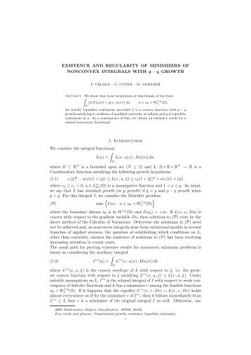 EXISTENCE AND REGULARITY OF MINIMIZERS OF NONCONVEX ...